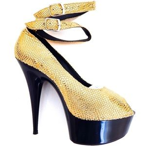 GASOLINE GLAMOUR GOLD RUSH PEEPTOE PUMPS